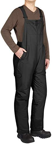 HISEA Men s Snow Bib Overalls Work Ski Pants Waterproof Insulated Coveralls Black product image