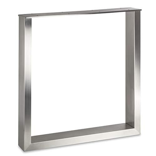 Sotech Telaio per Tavoli KUFE Vero Acciaio Inox/Profilo 80 x 40 mm/Altezza: 720 mm/profondità: 700 mm Altezza Regolabile Base per Tavolo Piedistallo Gamba da Tavolo Piede da Tavolo di SO-Tech