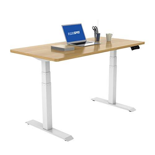 FLEXISPOT スタンディングデスク 電動式昇降デスク 組立簡単(ネジ六本だけ)障害物検知機能付き 高さ調節パソコンデスク140*70cmテーブル (脚ホワイト+板メープル)