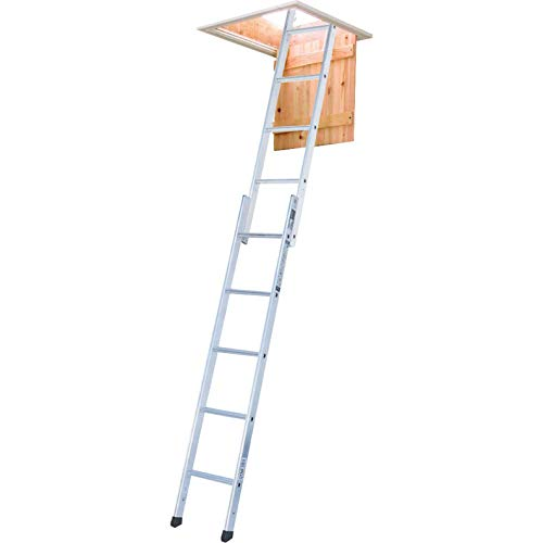 Youngman 302340 Spacemaker 2-Section Loft Ladder, Silver, 167 x 32 x 11 cm, Set of 3 Pieces