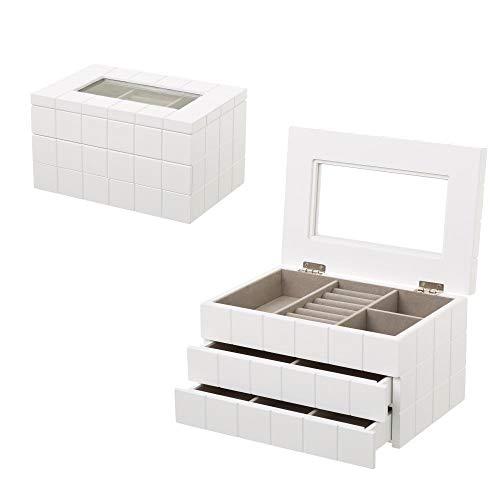 D,casa - Joyero de Madera con 2 cajones Blanco Moderno para Dormitorio Fantasy