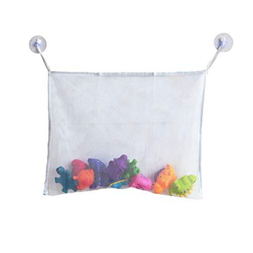 Bolsa de Almacenamiento de Juguetes de Agua para niños Bolsa Colgante de baño con Ventosa Fuerte (WhiteL)