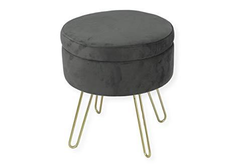 Avior Home Sitzhocker Schminkhocker aus Samt Gepolsterter Hocker Aufbewahrungsfußhocker mit Metallbeine (Dunkelgrau)