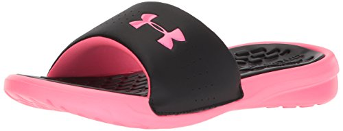Under Armour Women's Playmaker Fixed Strap Slide Sandal, Black (001)/Cerise, 8