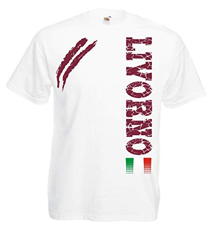 Generico t-Shirt Livorno Tifosi Ultras Calcio Sport dalla S alla 3XL e Taglie per Bambini(S, Bianco)