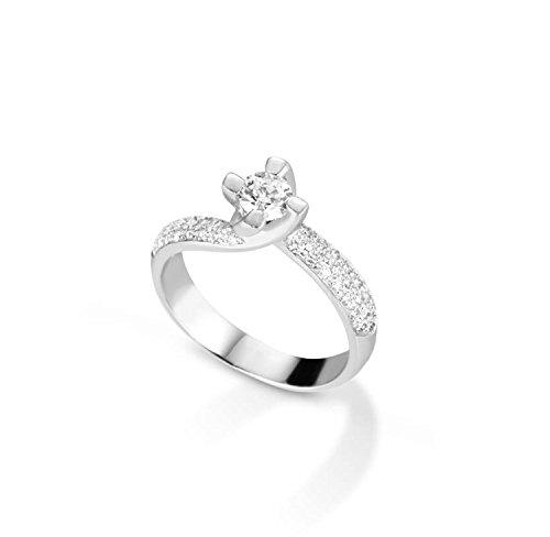 Anillo solitario de oro blanco de 18 quilates y diamantes G color 0,56 ct anillo de confianza