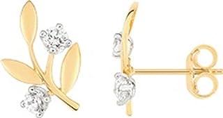 Tanvi – Pendientes – Oro Amarillo 375/00 y oxydes – www.diamants.perles.com