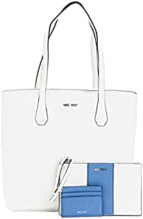 New Nine West Logo Purse Bag Card Case Wristlet 3 Piece Set White Blue Accents