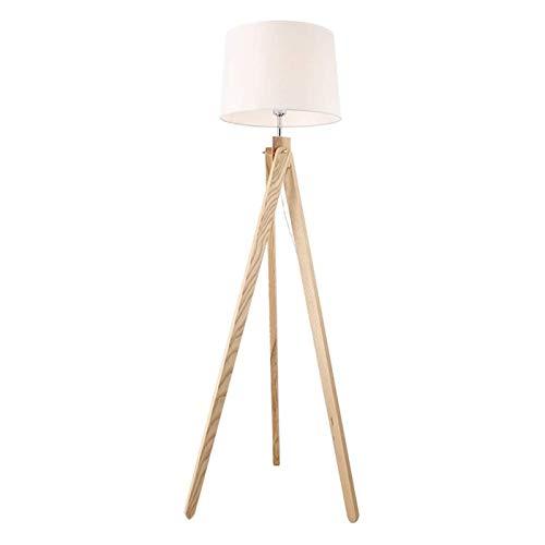 Lámpara de pie Trípode de suelo LED de la lámpara moderna de madera lámpara de pie con pantalla blanca Tambor y Base de la lámpara E27, ideal for sala de estar, dormitorio, sala de estudio y de oficin