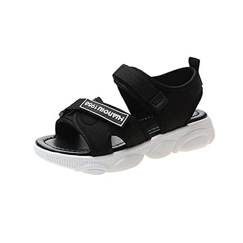 Sandalias planas para mujer, gancho y lazo, con estilo, ajustable, para playa, con tiras, antideslizantes, Black, 36.5 EU