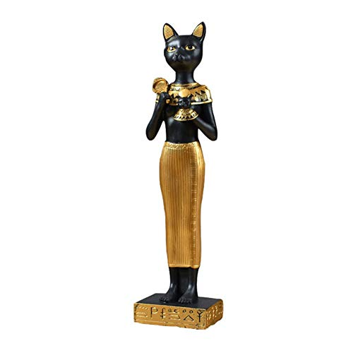 SY-Heat Estatua De Dios Egipcio, Gato Dios Escultura Resina Modelo Egipto Colección Artesanía Antigua Decoración De Regalo De Amor Egipcio