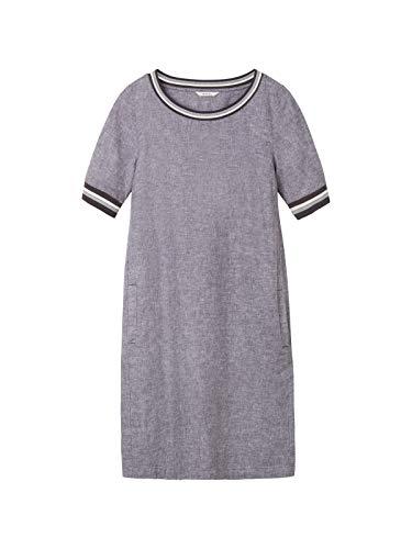 Sandwich Damen Casual Kleid mit gestreifter Paspel