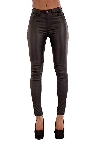 Lusty Chic Hochwertige Damenhosen, Glatte Damen Hose, Frauen Kunstlederhose, PU Lederhose Jean (38, Black Plain)