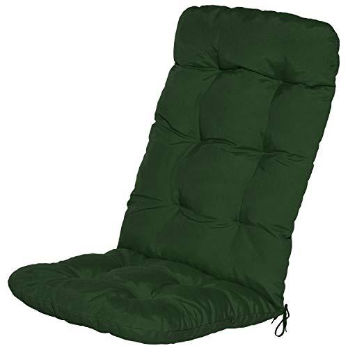 Beautissu Cojín para sillas de balcón Flair HL - Cojín para Asiento Exterior con Respaldo Alto - 120x50x8 cm - Relleno de Copos de gomaespuma - Verde Oscuro