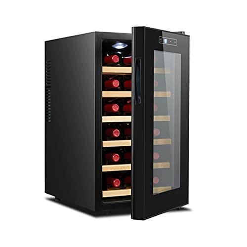 MIAOYO Mini Pequeño Refrigerador De Vino,Independiente Vinoteca,18 Botellas Vinoteca,Funcionamiento Silencioso Control Digital De La Temperatura Vinoteca,Negro,34.5x49x66.5cm