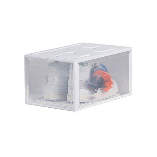 Caja de Almacenamiento de Zapatos, 1 Pieza Estante Transparente para Zapatos, Contenedores Organizadores Apilables de Plástico con Tapa para Mujeres y Hombres, 36 * 26 * 20 cm (Blanco)