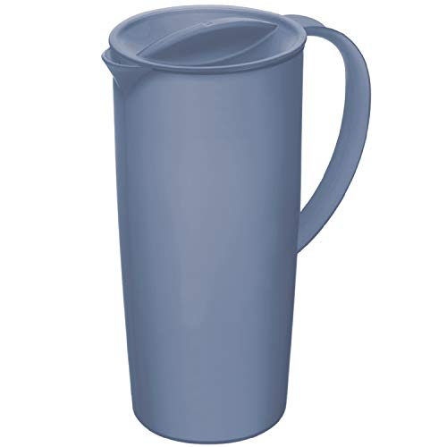 Rotho Caruba Krug 1.2l mit Deckel und Ausguss, Kunststoff (PP) BPA-frei, horizon blue, 1,2l (16,0 x 10,5 x 22,0 cm)