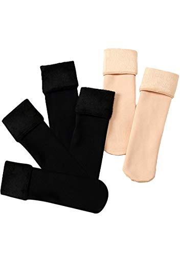 YMING Unisex Winter Warme Gerade Socken Dickere Socken Samt Socken 6 Paar Schwarz und Nackt