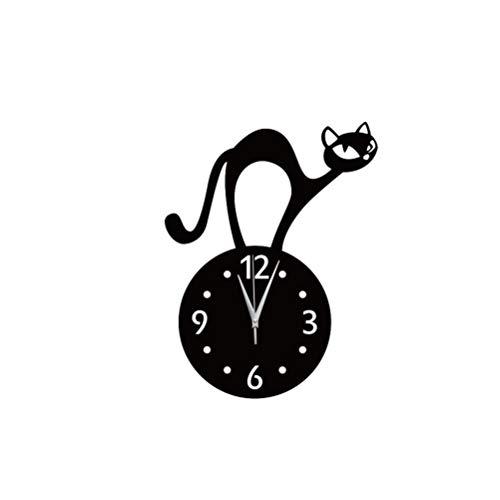 LIOOBO 1 Unid Superficie de Espejo Reloj de Pared de Gato Re
