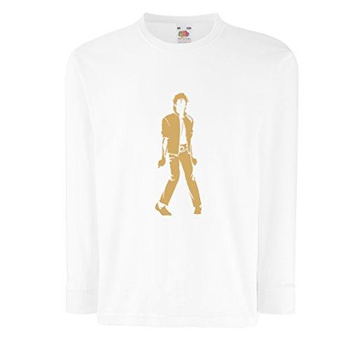 lepni.me Camiseta para Niño/Niña Me Encanta M J - Rey del Pop, 80s, 90s Músicamente Camisa, Ropa de Fiesta (9-11 Years Blanco Oro)