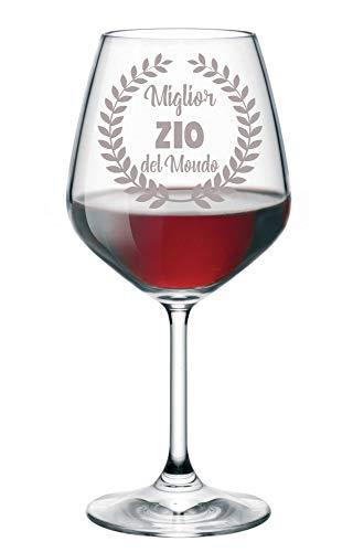 Calice da Vino Incisione Zio Migliore del Mondo - Calice in Vetro 500 ml