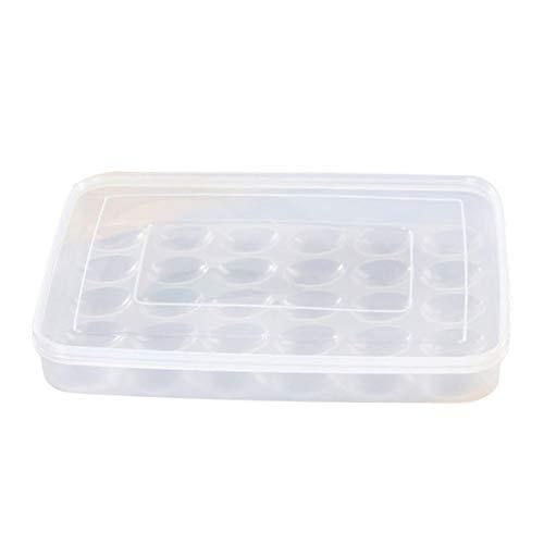 S/V Huevera para frigorífico, plástico, transportador de huevos, con tapa, apilable, fácil...