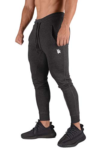 YoungLA Mens Joggers Slim Fit   Gym Pants Tapered   Workout Skinny Sweatpants   Training Fitness 222 Char S Charcoal