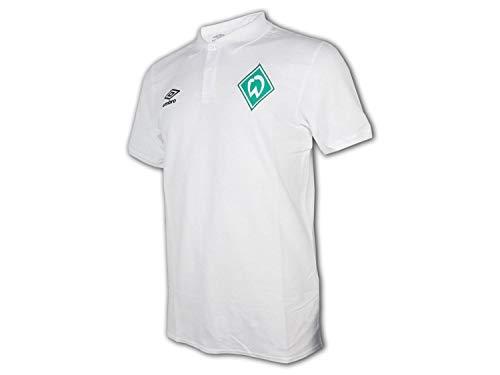 UMBRO Werder Bremen Travel Poloshirt weiß SVW Fan Shirt Werder Polo Jersey, Größe:L