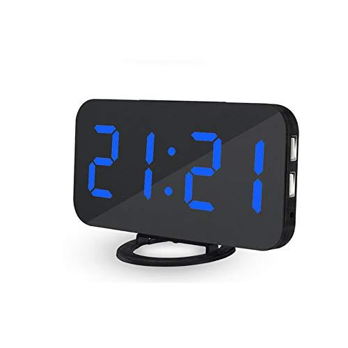 Tolyneil - Réveil numérique LED avec fonction snooze / luminosité réglable / surface miroir, 2 ports de charge USB