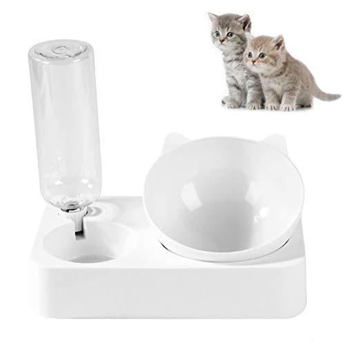 LeerKing 2 en 1 Dispensador de Agua y Cuenco Elevado para Perro Gato Comederos y Bebederos para Animales Pequeños