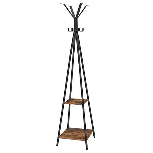 HOOBRO Garderobenständer mit 8 Kleiderhaken und 2 Etagen, Freistehende Garderobe mit Metallgestell, Multifunktional, Kleiderständer für Eingangsbereich, Vintagebraun und schwarz EBF84YM01