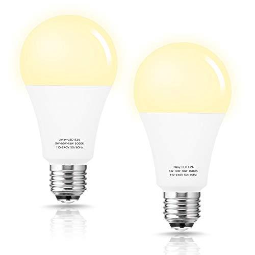 Briignite 50/100/150W Equivalent 3 Way LED Light Bulb, A21 Soft White...
