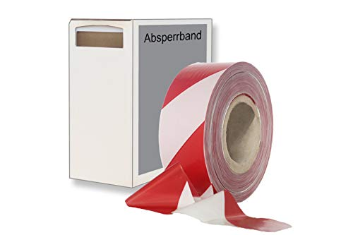 dm-Folien Absperrband - Flatterband rot-weiß 75mm / 500m mit/ohne Karton - stabiles und reißfestes Polyethylen Warnband und Trassierband – verschiedenfarbig