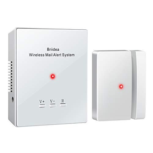 Mailbox Alarm, Briidea Wireless Mailbox Alert, 1000FT Super Cover Long Range Mailbox Chime LED Light Flash, Volume Control for Home, White