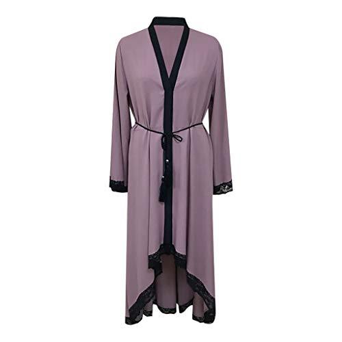 WUDUBE Mode Frauen Muslimische Robe, Dubai Style Damen Offene Robe Abaya Muslimische Strickjacke Spitzenkleid