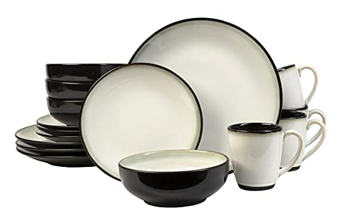 Sango Nova 16-Piece Ceramic Dinnerware Set with Round Plates and Mugs, Black