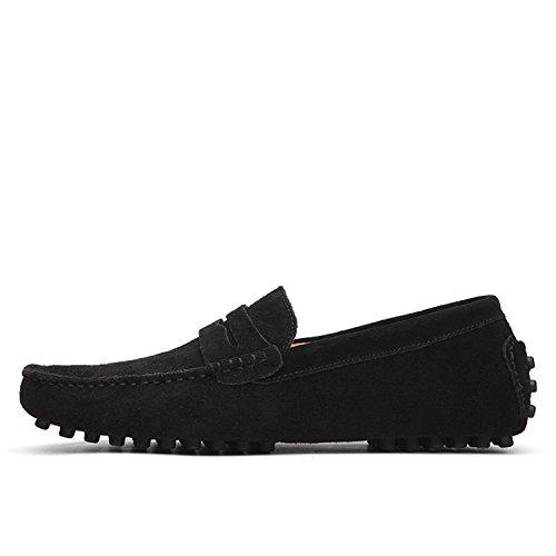Herren-Loafer, weich, für Herbst und Winter, echtes Leder, warmes Fell, flache Schuhe, Grn (grün), 46 EU