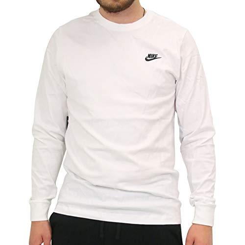Nike Herren M NSW CLUB TEE - LS Langarm T-shirt, Weiß (White/Black/100), M