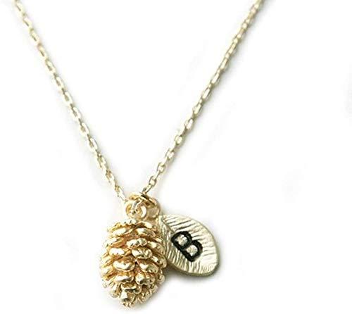 N/W Charm Golden Pine Cones Leaf B Collar con Colgante Inicial con Cadena para Mujer Chapado enOro