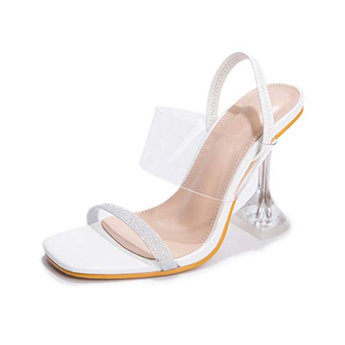 CYBLING Women's Lucite Clear Stiletto High Heels Sandals Elastic Strap Square Open Toe Party Evening Dress Shoes White