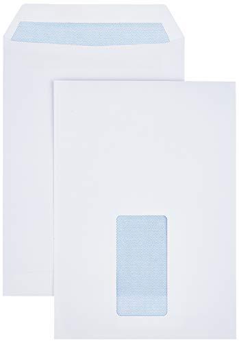 AmazonBasics Briefumschläge, C5, selbstklebend, mit Fenster, 90 g/m², Weiß, 500 Stück