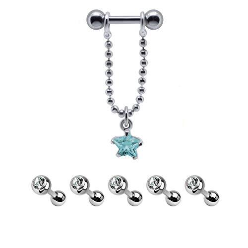 FIVE-D 5 stuks set helix tragus piercing kristallen helder helix ster met ketting