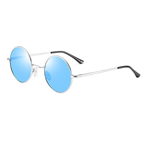 Anteojos de sol polarizados John Lennon, redondos, estilo vintage, para hombres y mujeres, estilo hippie Azul Blue Lens+silver Frame Medium