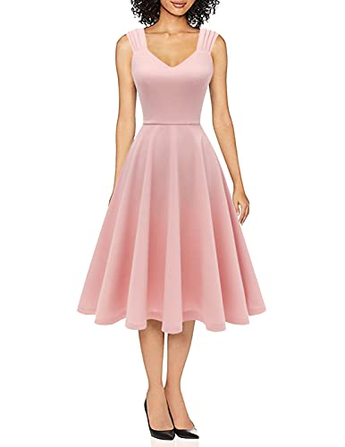 Women Casual Tea Dress Prom Party Dresses Cocktail Swing Dress, V Neck, Sleeveless, A-Line, Classic Homecoming Bridesmaid Dress, Modest Church Dress Blush L