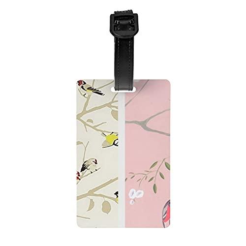 Etiqueta de equipaje con patrón de pájaro a través de Jolly etiqueta de protección de privacidad para bolsa de viaje etiqueta de maleta