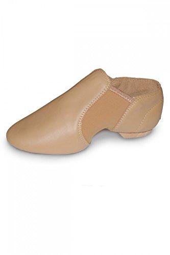 Roch Valley Jazztanz-Schuhe, Leder mit Neopreneinlagen, zum Hineinschlüpfen, Gummisohle, hautfarben, Größen für Erwachsene und Kinder, Kinder damen, Flesh Natural, UK 1 child / Eur 33