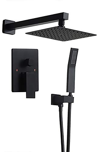 """Homary Matte Black Wall Mounted Rain Shower Set 8"""" Square Shower Head Handheld Shower Modern Dual Function Shower Fixture for Bathroom, Solid Brass with Rough-in Valve Body and Trim"""