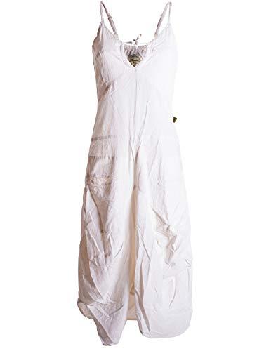 Vishes - Alternative Bekleidung - Lagenlook Ballonkleid mit verstellbaren Trägern weiß 42 (XL)
