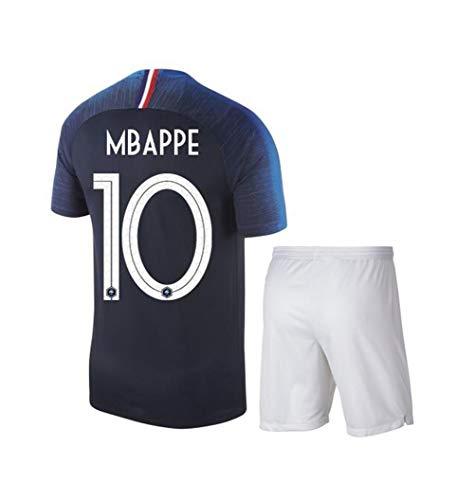 Francia Campeón Camiseta de Fútbol+Cortos,MBAPPE N°10 Respirable Camiseta De Manga Corta Pantalones para Niños Adultos Uniforme de 2018 Copa del Mundo de Dos Estrellas