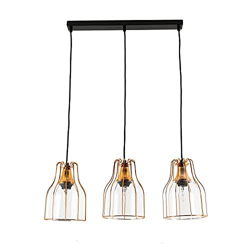 Suspension efficace en cuivre design vintage 3x E27 jusqu'à 60 Watt 230V en verre et métal pour la cuisine et la salle à manger Suspension à l'intérieur
